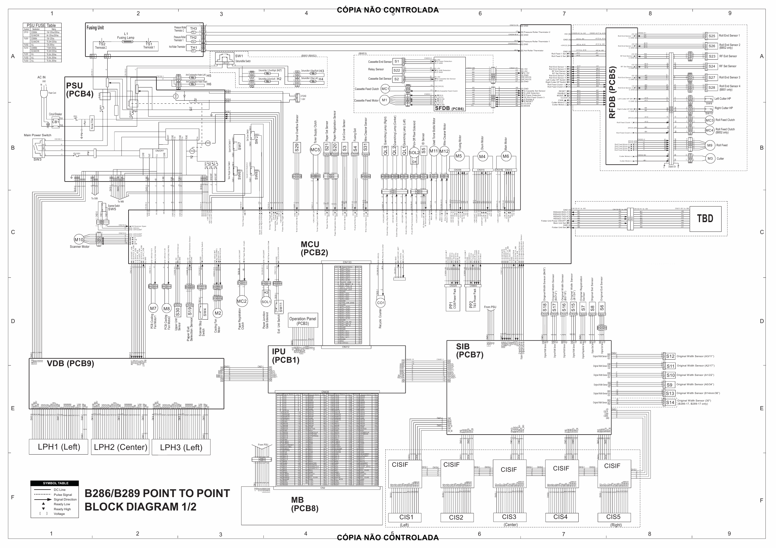 RICOH Aficio MP-W2400 W3600 B286 B289 Circuit Diagram-1